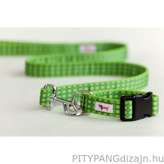 Polka Dog kutya nyakörv, póráz/ zöld káró minta