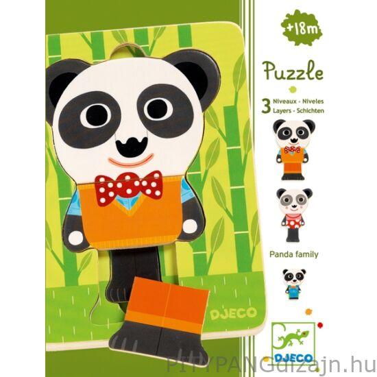Djeco kirakó/ Háromrétegű puzzle - Panda family