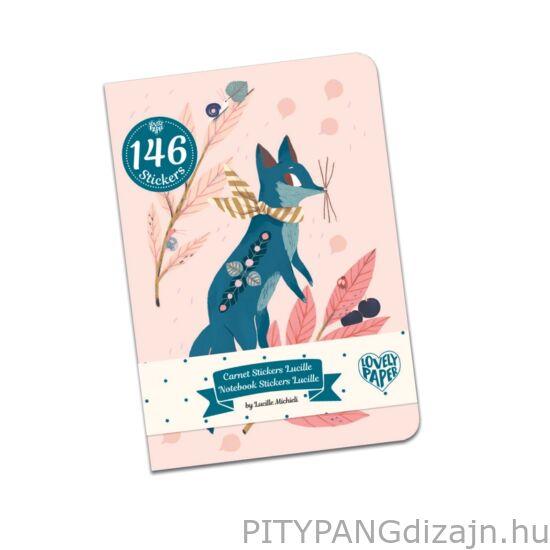 Djeco Lovely Paper / Jegyzetfüzet 146 db matricával - Lucille stickers notebook