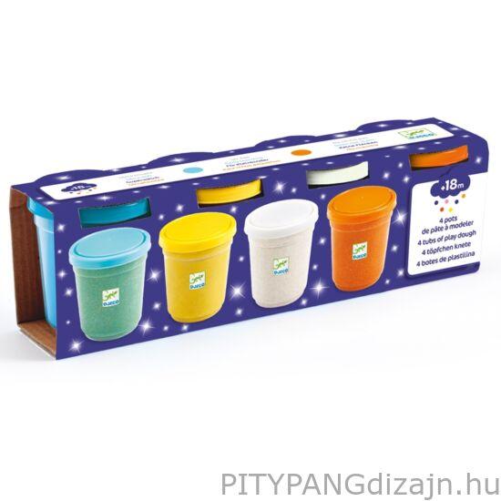 Djeco kreatív készet / Gyurma - Csillogó pillegyurma - 4 pots of glittery play dough