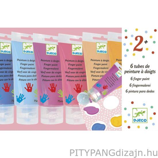 Djeco kreatív készlet/ Ujjfesték - 6 szín tubusban - 6 finger paint's tubes - Sweet