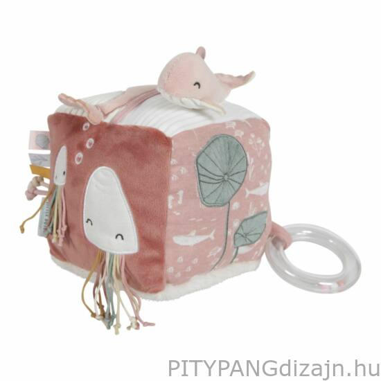 Little Dutch / Baba játék / Tengeri állatos plüss készségfejlesztő kocka, pink