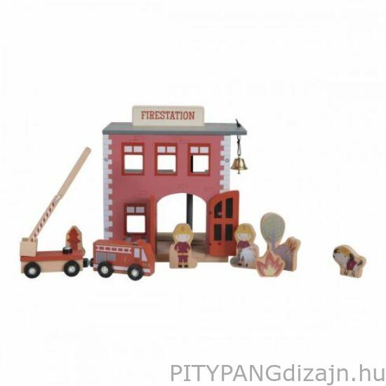 Little Dutch / Fa játék /  Fa vasútállomás - fa vasút kiegészítő
