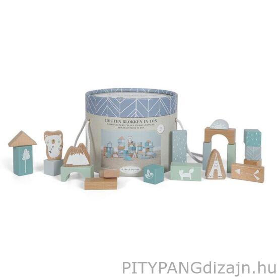 Little Dutch / Fa játék / Fa építőkockák dobozban, adventure kék