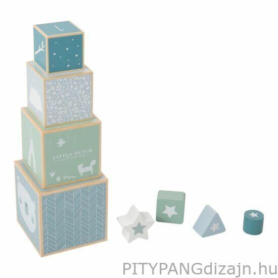 Little Dutch / Fa játék / Toronyépítő játék formabedobóval, adventure kék
