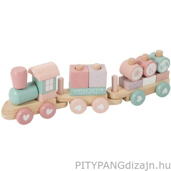 Little Dutch / Fa játék / Játékvonat építőelemekkel, adventure pink