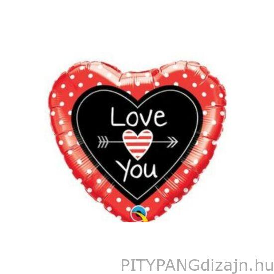 Lufi / Qualatex / Love You Dots & Arrows Szerelmes Szív Fólia Lufi
