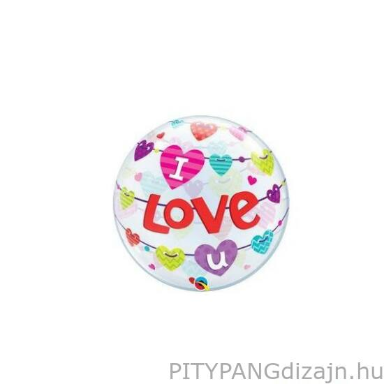 Lufi / Qualatex / I Love U Banner Hearts Szerelmes Bubbles Lufi