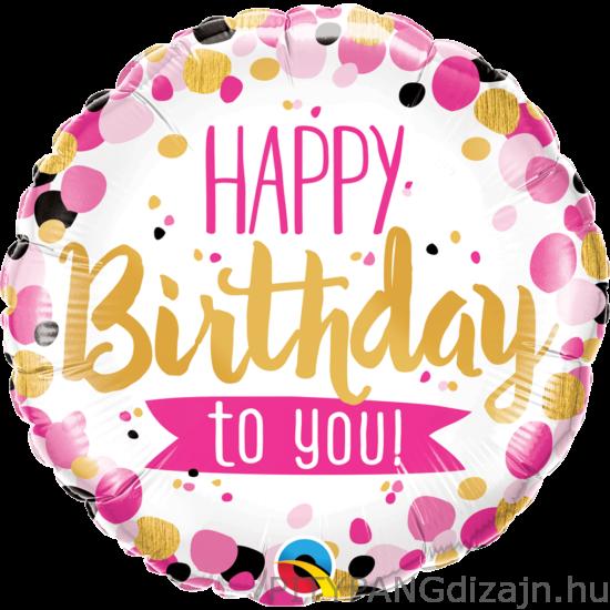 Lufi / Qualatex / Happy Birthday To You Pink & Gold Szülinapi Fólia Lufi