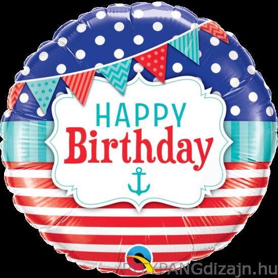 Lufi / Qualatex / Birthday Nautical And Pennants Szülinapi Fólia Lufi