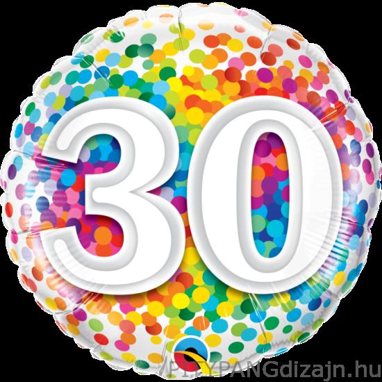 Lufi / Qualatex / 18 Inch-Es 30 Rainbow Confetti Szülinapi fólia lufi