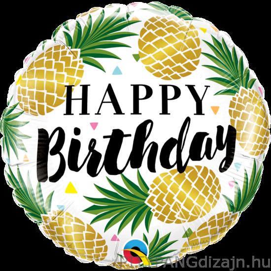 Lufi / Qualatex / 18 inch-es Birthday Golden Pineapples Fólia Lufi