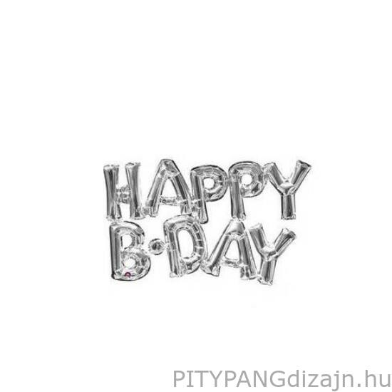 Lufi / Anagram /  HAPPY BIRTHDAY Feliratú Silver levegős fólia lufi