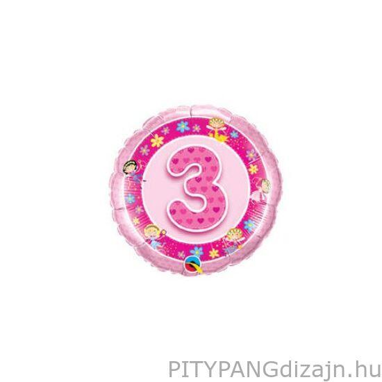 Lufi / Qualatex / Rózsaszín - Age 3 Pink Fairies Szülinapi Számos Fólia Lufi