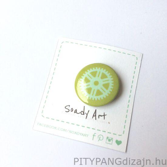 Soady Art kitűző / lime fogaskerék