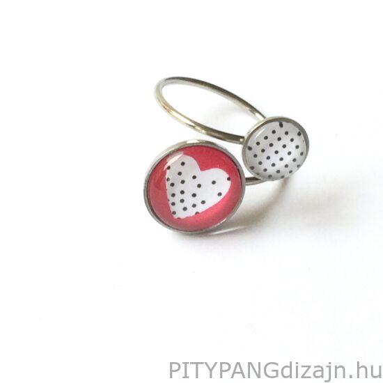 Soady Art nemesacél ékszerek / gyűrű dupla - pink szív