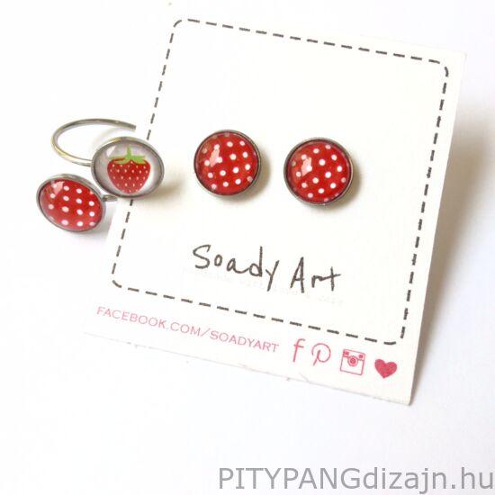 Soady Art nemesacél ékszerek / gyűrű dupla - piros fehér pöttyös és eper